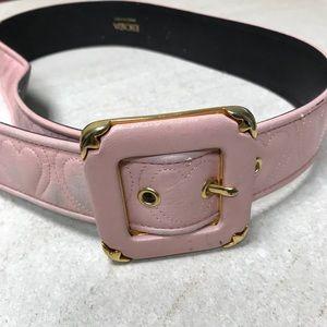 VINTAGE ESCADA Pink Leather Heart Belt